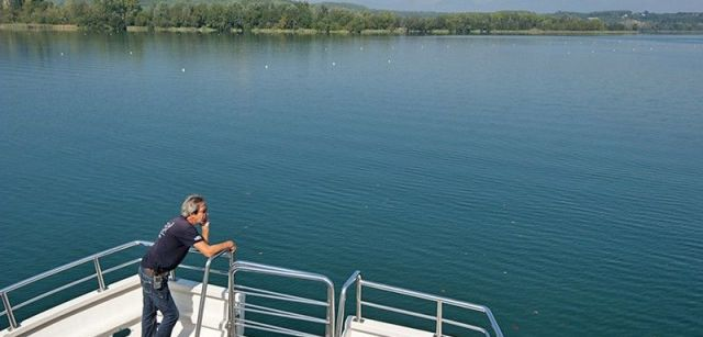 Bosques de ribera recuperados vistos desde la embarcación eléctrica que recorre el lago / Foto: Josep Cano