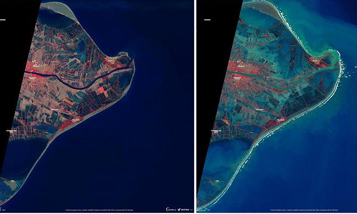 Imágenes del satélite Sentinel-1 del programa Copernicus de la Agencia Espacial Europea que muestran la magnitud de la inundación tras el paso de la tempestad / Foto: ESA