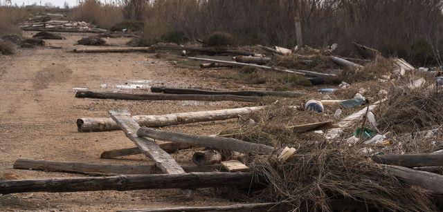 Enormes postes de las 35 mejilloneras destrozadas en la bahía del Fangar lanzadas por las olas a decenas de metros tierra adentro / Foto: Josep Cano